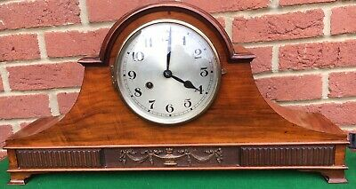 antique edwardian Walnut Napoleon Hat Mantle Mantel Clock