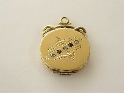 Fine Antique Victorian 12K Rose Gold Locket with Real Diamonds & Rubies
