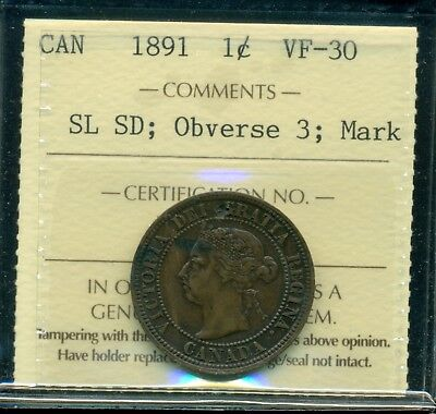 1891 SL SD; Obverse 3, Canada Queen Victoria Large Cent ICCS VF-30 Mark