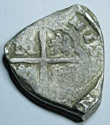 1600s Spanish Silver 2 Reales Real Two Bits Old Antique Colonial Pirate Cob Coin