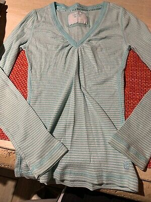 Limited Too 12 Girls Blue White Striped Long Sleeve Shirt