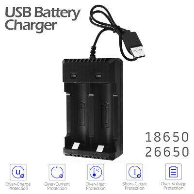 2 slots Battery Batteries Charger USB for 18650/26650 Quick Fast Chargesafely AU