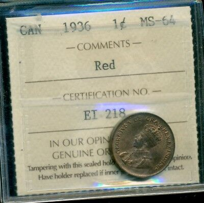 1936 Canada King George V Small Cent ICCS MS-64 Red