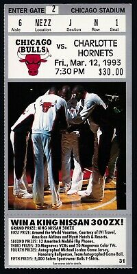 March 12, 1993 Chicago Bulls vs. Charlotte Hornets Ticket Stub Michael Jordan
