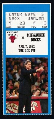 April 7, 1992 Chicago Bulls vs. Milwaukee Bucks Ticket Stub Michael Jordan