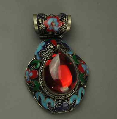 Chinese Pure Handwork Old Tibet Silver Inlay Jade Cloisonne Flower Pendant z532