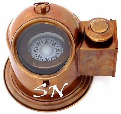 Nautical Antique Ship Compass Gimbal Vintage Marine Binnacle Boat Oil Lamp Decor