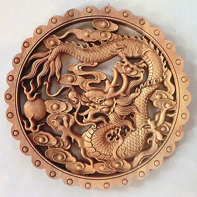 ART ! CHINESE HAND CARVED DRAGON STATUE CAMPHOR WOOD PLATE WALL SCULPTURE NR z60