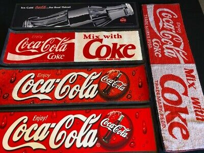 Coca Cola Bar Mat Collection NEW (x5 Different, 4 rubber backed, 1 Towel cloth)