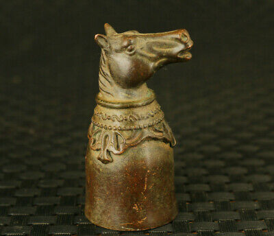 china casting bronze fortune horse statue figure collectable wine cup table deco