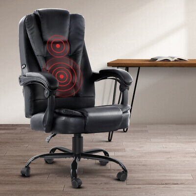 Artiss Electric Massage Office Chairs PU Leather Recliner Computer Gaming Seat B