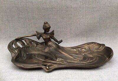 "Large 13"" Art Nouveau Bronze Lady Calling Card Tray C1910 ~ 1.9 Kg"