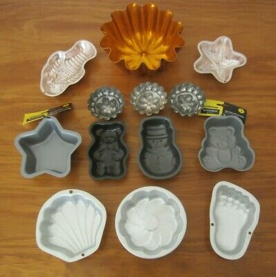 13 ASSORTED MOULDS -ALUMINIUM/METAL for CAKE/JELLY/SOAP etc - CLEAN PRE-LOVED