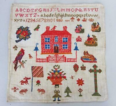 STUNNING ANTIQUE PICTORIAL NEEDLEWORK EMBROIDERY SAMPLER circa 1850 woolwork a