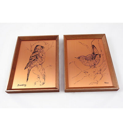 Pair of Vintage Coppercraft Etchings - Wren & Brambling Birds - Wall Plaques