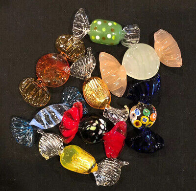 Murano Italian Hand Blown Art Glass Wrapped Candy Gold Millefiori Lot 8 Pieces