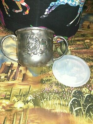 GODINGER SILVER PLATE Baby Sippy Cup & Lid ~ 2 Handle with Lion ~ Elephant