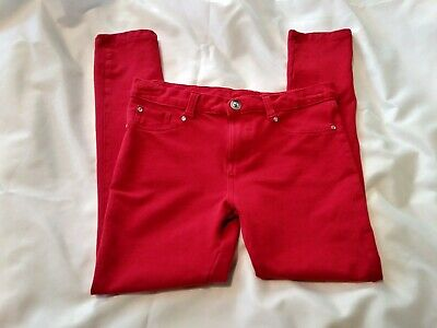 Penny M Girls Red Jean Leggings with Rhinestones on pocket size L