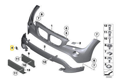 Genuine BMW X1 E84 Series Front Bumper Eye Cover Towing Hitch Cover 51117345034