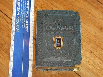 Antique Leather Bound Cale Meter Book Coin Bank, Capital Life Ins, Denver Co.