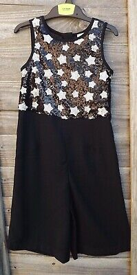 New M&S Girls Black with Silver sequins Culotte Jump suit age 3-4 years