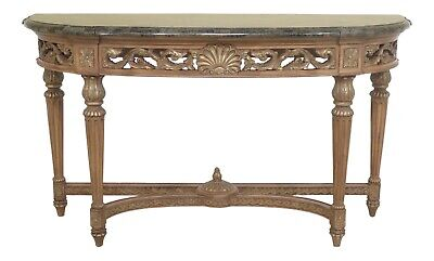 48518EC: French Louis XVI Style Marble Top Console Table