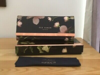 TED BAKER NEW GLASSES CASE DARK BLUE  FLORAL WiTH CLOTH GIFT BOXED