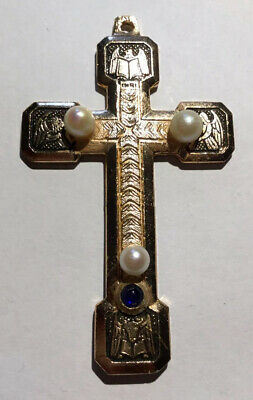 Large Exquisite Cross Antique Gold Plated Pendant Stunning High End Pearls Sap