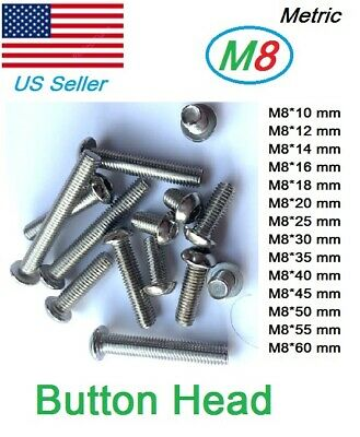 M8x1.25 Metric Button 10mm to 60mm Hex bolt Dome Head Stainless Steel (10pcs)