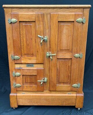 Antique Oak Gibson Ice Box 3 Door Chest Porcelain Lined