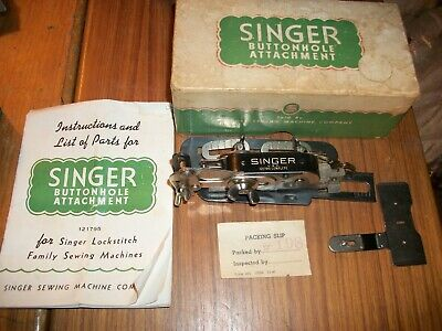 Singer Sewing Machine Buttonhole Attachment Vintage 1941-ORIG.BOX/BOOKLET