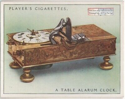 """17th Century A Table Alarum Clock With """"Strike-A-Lght"""" 1920s Ad Trade Card"""