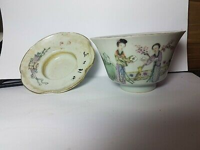 🔴 Antique signed Chinese Porcelain cup and saucer with poetry and figures asian