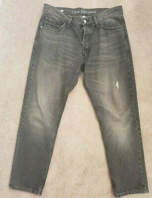 Mens Calvin Klein Jeans Straight Taper 34 x 30 Charcoal Faded Black Color