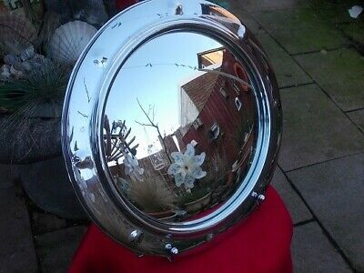 Vintage Original Chrome Port Hole Style Wall Mirror Circa 1950S 1960S