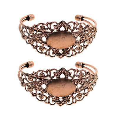 2Pcs Copper Blank Adjustable Cuff Bangle Bracelets fits 25.4mm Oval Cabochon