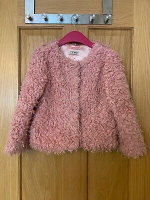 Next Girls Pink Super Fluffy Silky Lined Jacket - 6 Years