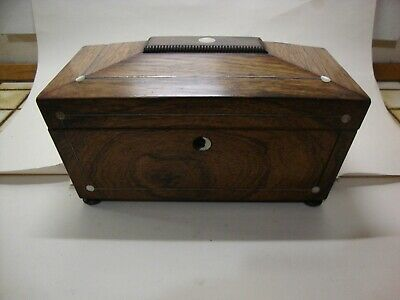 Antique Victorian sarcophagus tea caddy mother of pearl inlay