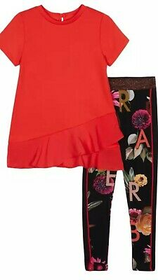 Ted Baker Girls 2Pce   Top & Floral Print Leggings Set /Outfit  Age 7-8 Ys Bnwt