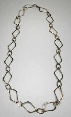 Vintage Mexico Sterling Silver Modernist Large Chain Link Toggle Necklace