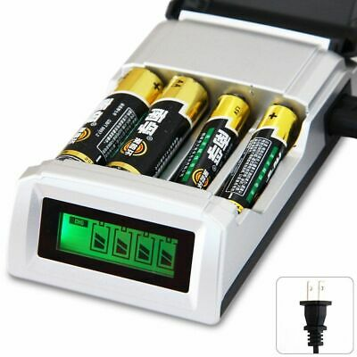 Fast Intelligent 4 Battery Charger For AA/AAA NiCd NiMh Rechargeable Batteries .