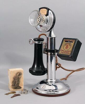 Western Electric 323BW Candlestick Payphone Telephone Courtesy Coin Box & Lock