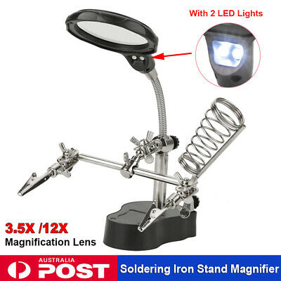 2 LED Magnifying Soldering iron Stand Magnifier Clamp Helping Tool Third Hand