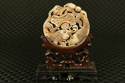 Chinese old jade handmade two carp statue collect pendant necklace + wood stand