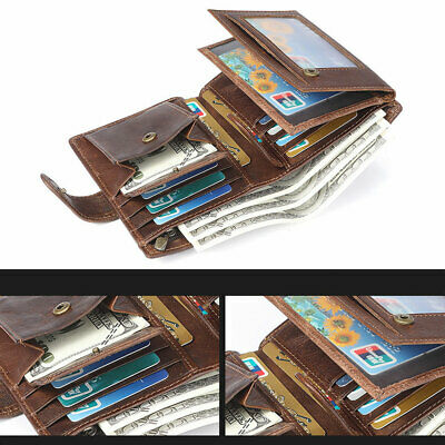 Men's RFID Blocking Genuine Leather Mens Wallet Trifold Purse Coin Card Large ID