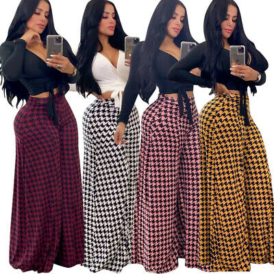 Y285 High Elastic Waist Houndstooth Printed Woman Casual Loose Pant Wide-leg 2XL
