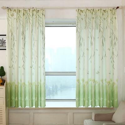 Butterfly Printed Cotton and Linen Living Room Bedroom Curtain (Green) #SFD