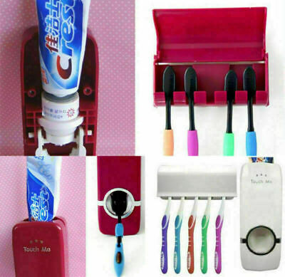 Wall Mounted Auto Automatic Toothpaste Dispenser + 5 Toothbrush Holder Set Home