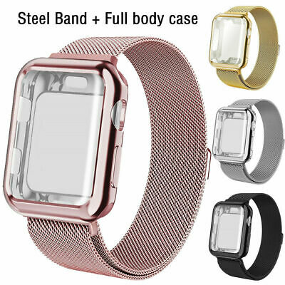 Stainless Steel Band Strap+Full Body Case Cover For Apple Watch Series 5 4 3 2 1