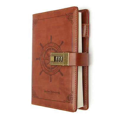 Password Lock Notebook Office Diary Brown Rudder PU Leather 112 Sheets Brown AU